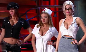 Victoria Zralko as sexy policewoman at Russian stand-up comedy TV show (aired 2014.12.31)